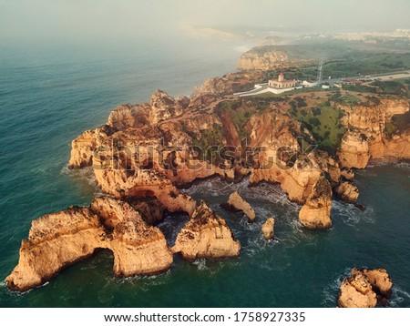 View from above of Ponta da Piedade headland, Lagos town, Portug Stock photo © amok