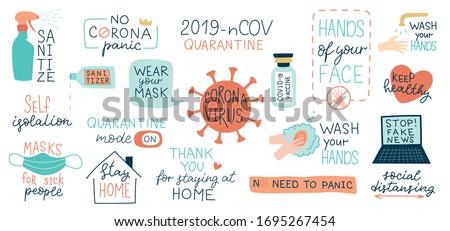 Pandemic lettering. 2019-nCoV Novel Coronavirus virus and bacter Stock photo © popaukropa