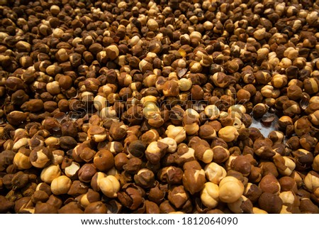 Close up shot of dry chickpeas on grey background. Raw vegetarian food. Healthy dieting concept. Nat Stock photo © vkstudio