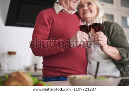 Cheerful married couple embrace each other, clink glasses with champagne, have good mood after regis Stock photo © vkstudio