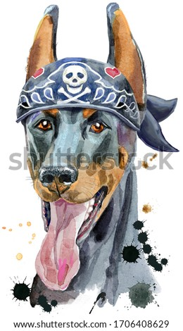 Watercolor portrait doberman wearing biker bandana with a skull Stock photo © Natalia_1947