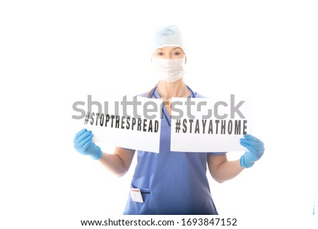 Nurse dire warning to stop community spread of contagious virus  Stock photo © lovleah