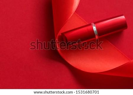 Lujo lápiz de labios seda cinta rojo vacaciones Foto stock © Anneleven