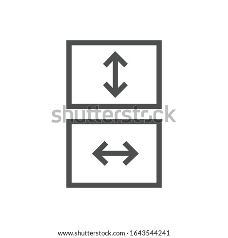 Fit to screen icon, box with arrows, full screen view icon. Stretch or shrink vertically or horizont Stock photo © kyryloff