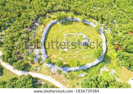 Circular cemetery historic landmark in Ledenice village aerial v Stock photo © xbrchx