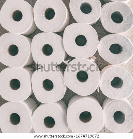 Toilet paper rolls background top flat view of many open rolls. Hoarding of bathroom tissues in fear Stock photo © Maridav