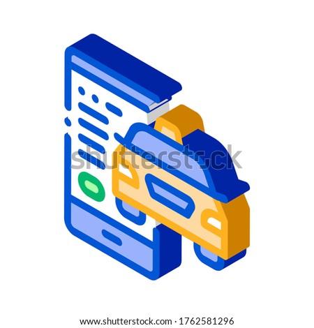 Taxi telefoon online isometrische icon vector Stockfoto © pikepicture