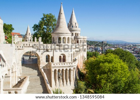the stairs of the fishermans bastion and panorama budapest hu stock photo © vladacanon