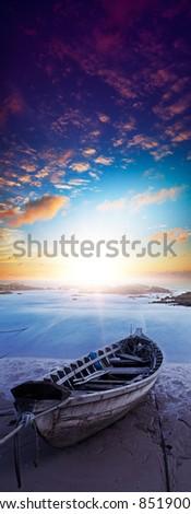 Foto stock: Barco · longa · exposição · tiro · vertical · panorama