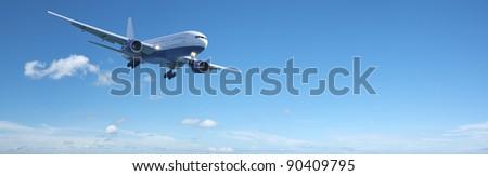 Foto stock: Jato · aeronave · blue · sky · panorâmico · alto