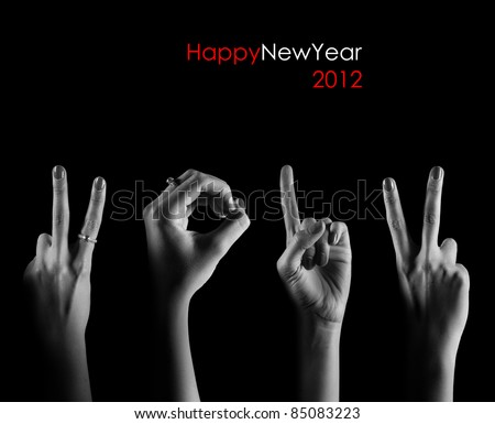 The number 2012 are shown via fingers in creative New Year greet Stock photo © oly5