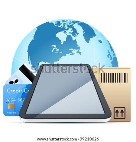 Clear Touch Pad Personal Computer with Cardboard Box and Bank Ca Stock photo © WaD