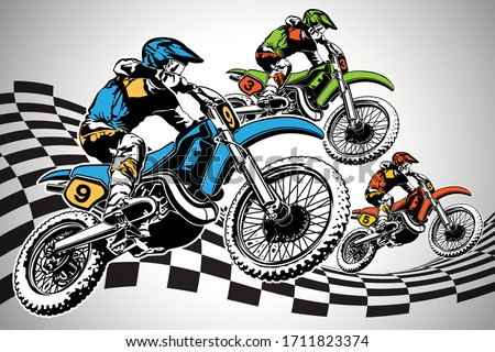 Big set of motorcycles. Black and white and color Vector illustr stock photo © leonido