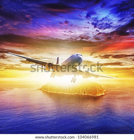 jet plane over tropical island at sunset time square compositio stock photo © moses