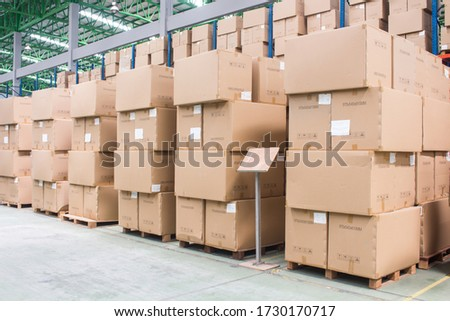 Forklift and shelves. Forklift loading Pallet Rack.Part of a Blue and yellow Warehouse and logistics Stock photo © JohanH