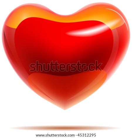 Glossy red heart with yellow reflections isolated on white. EPS1 Stock photo © tuulijumala