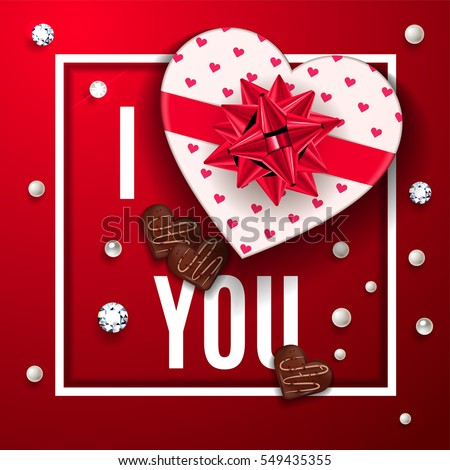 christmas composition with heart shaped box isolated on white stock photo © lenapix