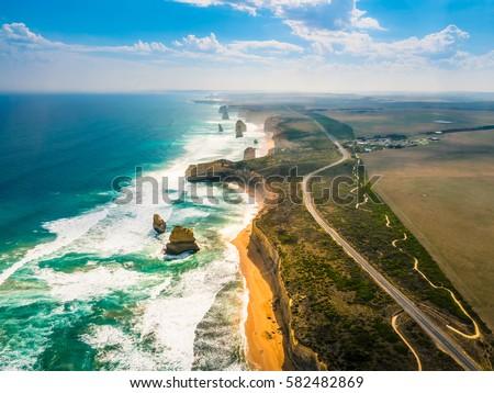 Foto stock: Oceano · estrada · ver · cênico · Austrália