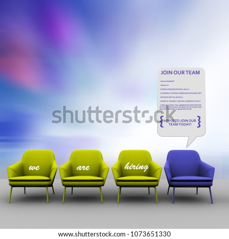 One Red Chair and Four Green Chairs in the White Interior. Copy Space on the Wall Stock photo © maxpro