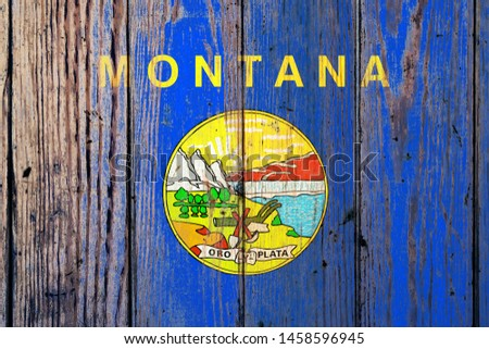 flag of US state of montana on grunge wooden texture precise pai Stock photo © vepar5