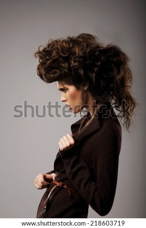 Charisma Gorgeous Classy Woman With Brown Curly Hairs Character Zdjęcia stock © Gromovataya