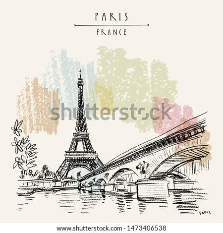 Stok fotoğraf: Retro · tarzı · Paris · Fransa · uzay · metin · görüntü