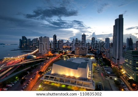 Panama City, city center skyline and Bay of Panama, Panama, Cent stock photo © dacasdo