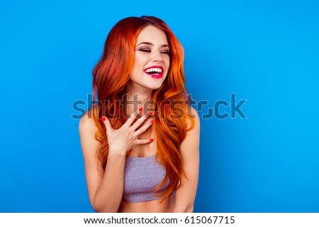 Hairstyle. Red Hair. Attractive smiling girl with long Curly Hai Stock photo © Victoria_Andreas