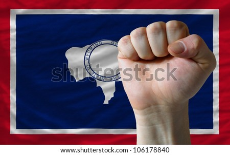 complete waved flag of american state of wyoming for background  stock photo © vepar5