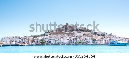 port and old town of ibiza town in ibiza balearic islands spa stock photo © nito