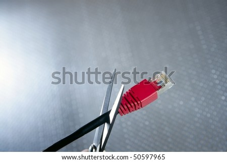 Cutting with wired technology metaphor, ethernet RJ45 cable scissors Stock photo © lunamarina