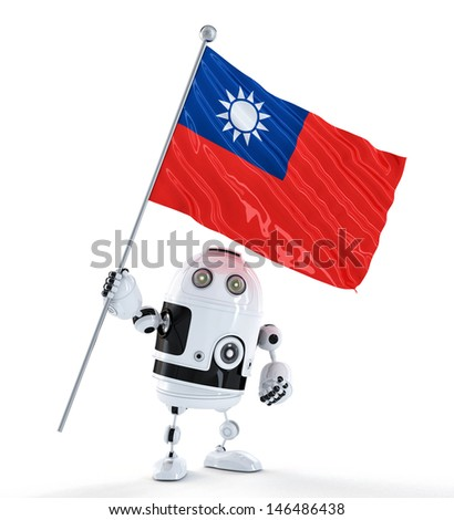 android robot standing with flag of taiwan isolated over white stock photo © kirill_m