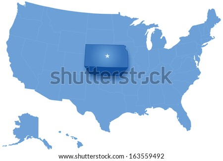 map of states of the united states where kansas is pulled out stock photo © istanbul2009