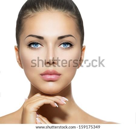 Stok fotoğraf: Güzellik · portre · güzel · bir · kadın · dokunmak · yüz · mükemmel