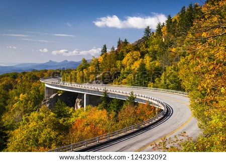 Blue Ridge Parkway Autumn Linn Cove Viaduct Fall Foliage Mountai Stock photo © alex_grichenko