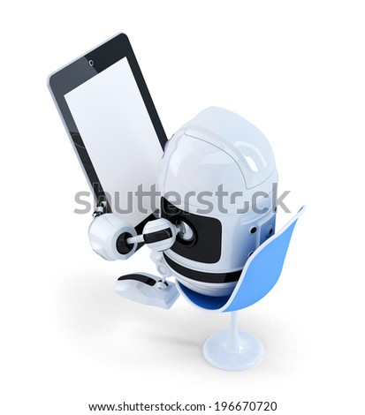 Stock photo: Robot sitting with a Tablet Computer. Isolated. Contains clipping path of entire scene and tablet sc