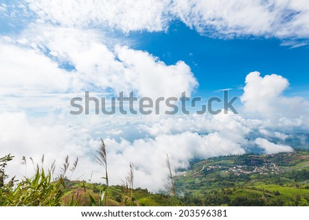 mountains view under mist in the morning, 'PHU TUB BURG' Phetcha Stock photo © FrameAngel