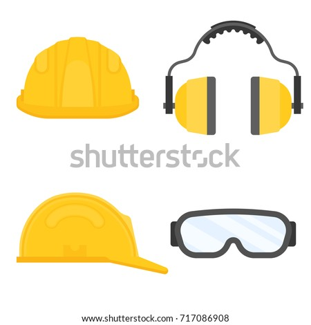 Safety hat and goggles glasse isolated  stock photo © hin255