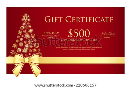 Luxury Christmas gift certificate with golden or silver ribbon and snowflakes Stock photo © liliwhite