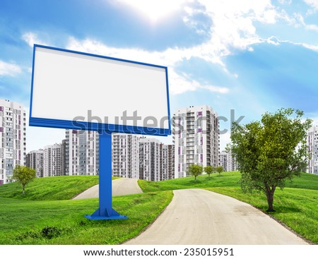Road running through green hills towards city. blank signboard on the fore . Schemes, rectangles and Stock photo © cherezoff