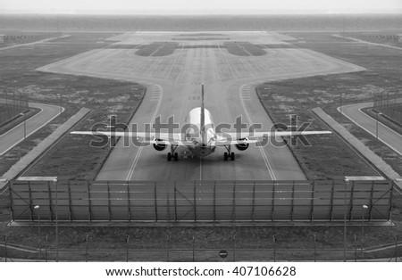 Aircraft airplane wing in landing process Stock photo © lunamarina