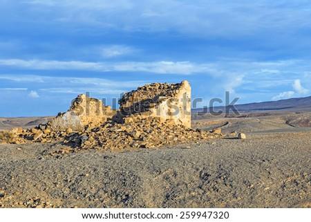 coastline in lanzarote in playa blanca with destroyed old fisher stock photo © meinzahn