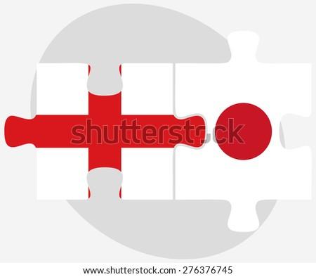 Japán Egyesült Királyság zászlók puzzle izolált fehér Stock fotó © Istanbul2009