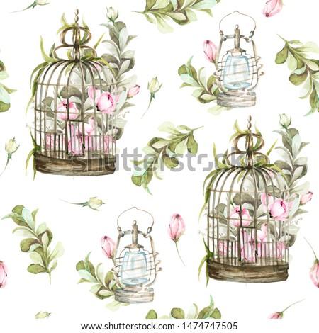 цветок · акварель · венок · красивой · дизайна · белый - Сток-фото © elmiko