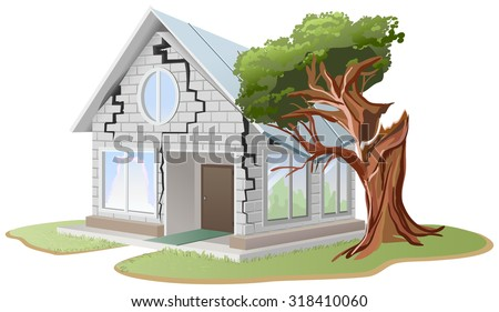 Crack mur de briques maison arbre maison illustration Photo stock © orensila