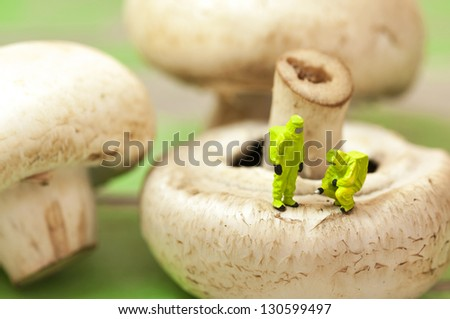 Group of people in protective suit inspecting a mushroom. Genetically modified food concept. Toned i Stock photo © Kirill_M