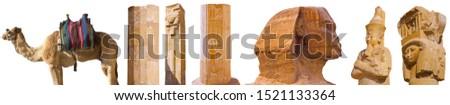 Karnak (Egypt) ruins of the great temple and obelisk, vintage en Stock photo © Morphart