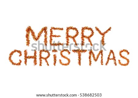 merry christmas   orange glittering lettering design with snowflakes pattern stock photo © rommeo79