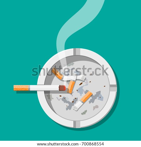Smoking cigarettes addiction and health issue concept, flat lay  Stock photo © stevanovicigor