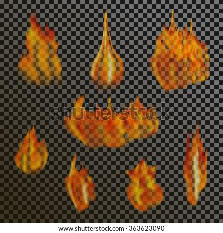 set of realistic transparent fire flames on a plaid black white grid background stock photo © fosin